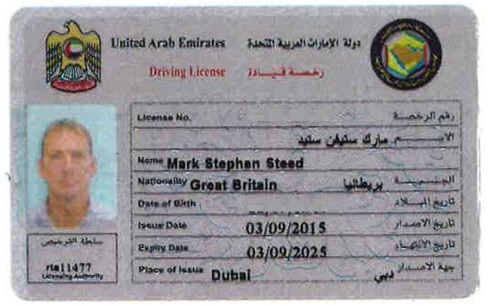 UAE Driving License Sample